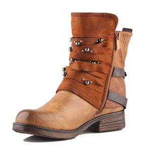 Motorcycle Ankle Combat Boots-Studded
